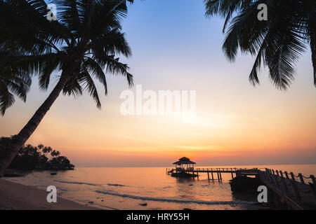 tropical beach background, beautiful sunset landscape with silhouettes of palm trees, vacation - Stock Photo