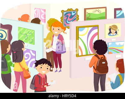 Illustration of Teenagers Checking Out Paintings in an Art Exhibit - Stock Photo