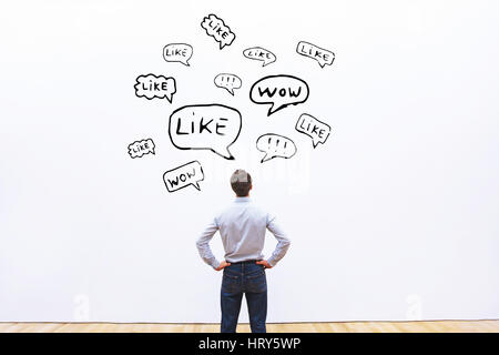 positive feedback concept, likes on social networks - Stock Photo