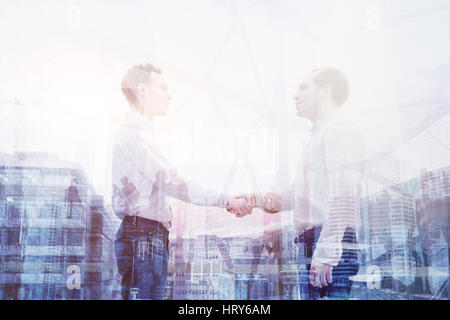 real estate deal, handshake double exposure, business people cooperation concept - Stock Photo