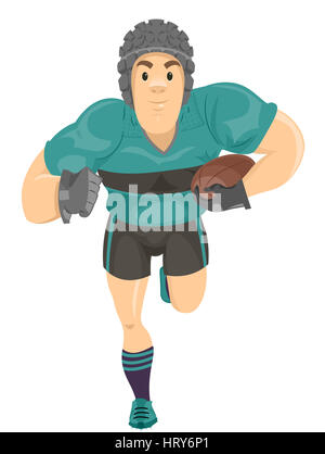 Illustration of a Rugby Player Running with the Ball - Stock Photo
