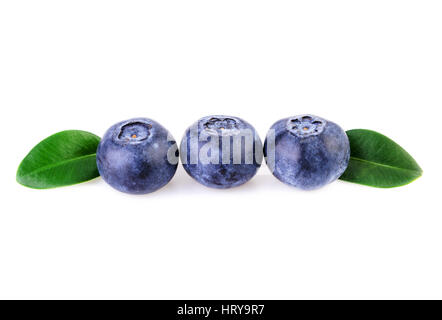 three blueberries in a row straight line isolated on white - Stock Photo