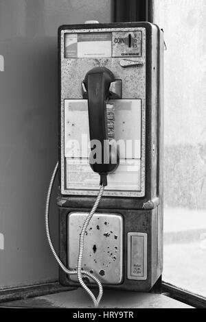 Vintage Pay Phone - Old Pay Telephone with Coin Slot III - Stock Photo