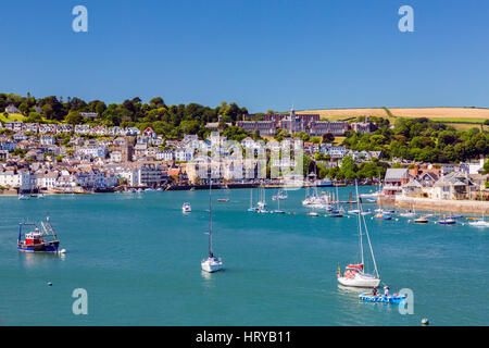 Looking up the River Dart towards the Britannia Royal Naval College in Dartmouth, Devon, England, UK - Stock Photo