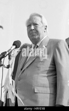 Rt. Hon. Edward Heath, former Prime Minister of Britain and Conservative party Leader, speaks at a Friends of John - Stock Photo