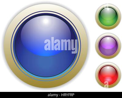 Blue, Green, Purple and Red Glossy Vector Button Illustrations. - Stock Photo