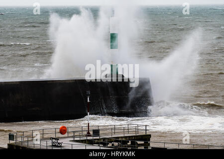 Aberystwyth, Wales, UK. 5th March, 2017.   UK Weather: On a day of increasingly strong winds, and with even more - Stock Photo