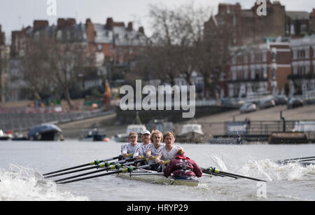 London, UK. 5th Mar, 2016. Boat Race Fixture. Oxford University Boat Club v ASR Nereus from Holland. As preparation - Stock Photo