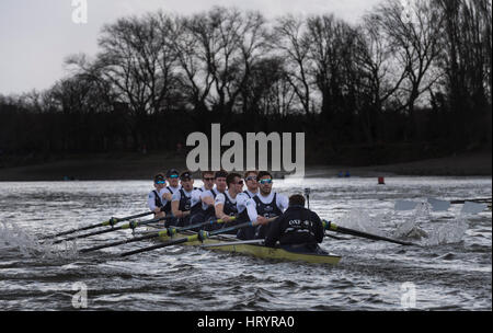 London, UK. 5th Mar, 2017. Boat Race Fixture. Oxford University Boat Club v ASR Nereus from Holland. As preparation - Stock Photo