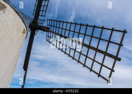 A close-up view to an old windmill on the hill near Consuegra (Castilla La Mancha, Spain), a symbol of region and - Stock Photo