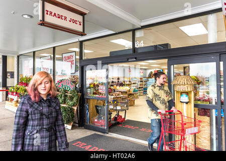 Fairfax, USA - November 25, 2016: People walking at Trader Joes grocery store by entrance - Stock Photo