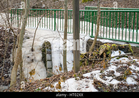 Frozen stream in the Vienna wood, District 19. Vienna, Austria. - Stock Photo