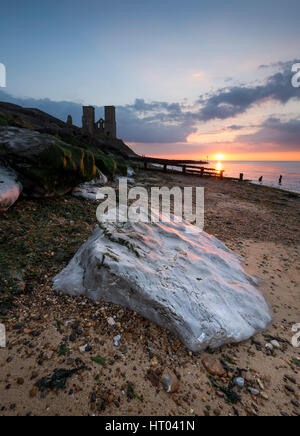 The Reculver Towers and Roman Fort on the North Kent coast at sunset. - Stock Photo