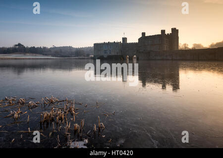 A Winter's morning at Leeds Castle, Kent. - Stock Photo