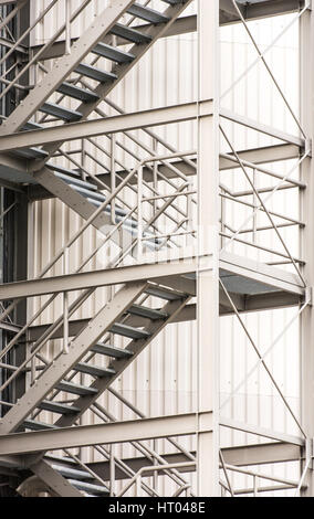 Escape Route At A Industrial Building Via Exterior Metal Staircase   Stock  Photo