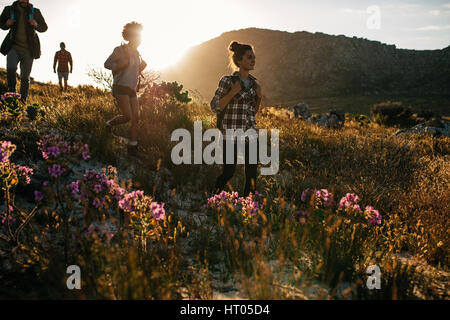 Group of friends are hiking in mountain on a sunny day. Four young people walking through countryside.