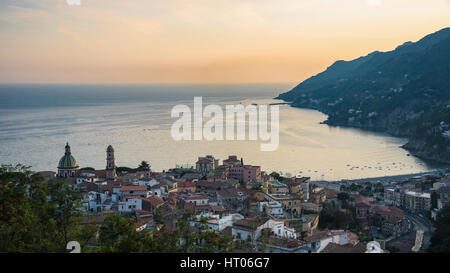 Panoramic view of Vietri sul Mare town at synset, Campania, Italy - Stock Photo