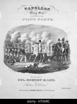 Sheet music cover image of the song 'Napoleon Quick Step', with original authorship notes reading 'Composed for - Stock Photo