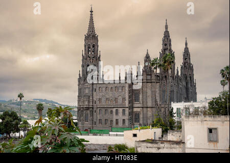 View of medieval gothic cathedral of San Juan Bautista in Arucas, Gran Canaria, Spain