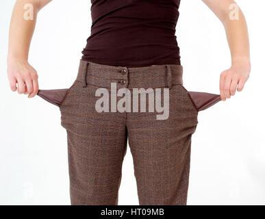 leere Hosentaschen, Symbolbild Pleite - empty trouser pockets - Stock Photo