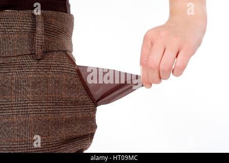 leere Hosentasche, Symbolbild Pleite - empty trouser pocket - Stock Photo