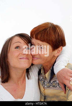 Mutter, 60 Jahre, mit Tochter, 30 Jahre - mother, 60 years old, with daughter, 30 years old - Stock Photo