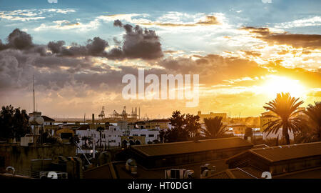 Limassol cityscape in evening. Cyprus. Panoramic photo - Stock Photo