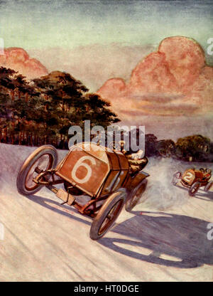 A Motor Race on the Brooklands Track - Stock Photo