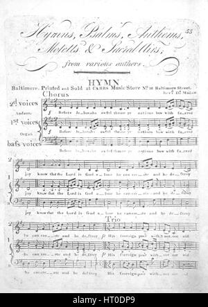 Sheet music cover image of the song 'Hymns, Psalms, Anthems, Motetts and Sacred Airs from various authors Hymn', - Stock Photo