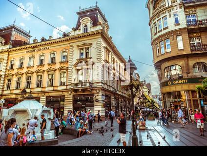 BELGRADE, SERBIA - SEPTEMBER 23: Republic Square or Square of the Republic on September 23, 2015 in Belgrade, Serbia. - Stock Photo