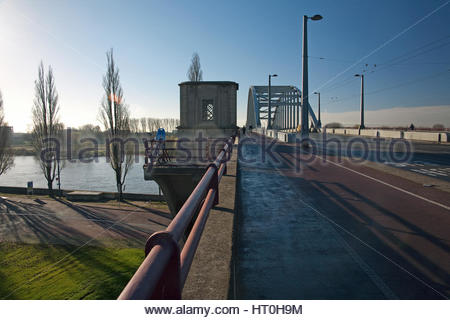 The bridge over the Rhine river, focal point of the Battle of Arnhem, September 1944, subject of the movie 'A Bridge - Stock Photo