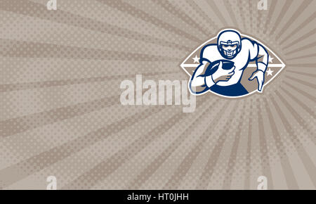 Business card showing Illustration of an american football gridiron running back player running with ball facing - Stock Photo