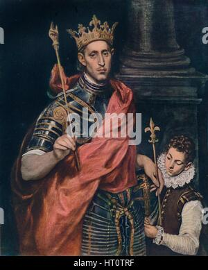 'St. Louis King of France with a Page', c1590. Artist: El Greco. - Stock Photo