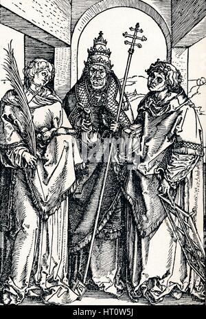 'Saints Stephen, Sixtus and Lawrence', 1508 (1906). Artist: Albrecht Durer. - Stock Photo