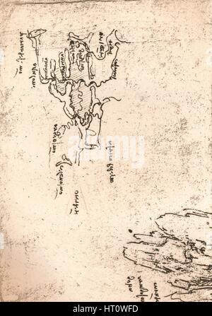 Sketch map of Armenia, c1472-c1519 (1883). Artist: Leonardo da Vinci. - Stock Photo