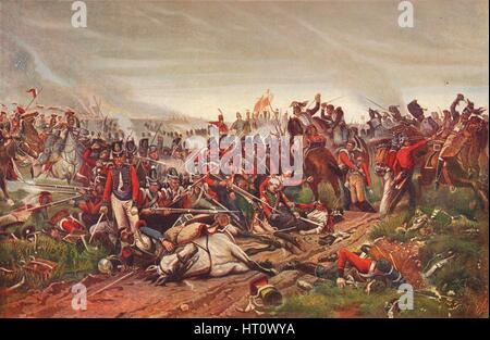 French cuirassiers charging a British infantry square at the Battle of Waterloo, 1815 (1906). Artist: P Jazet. - Stock Photo