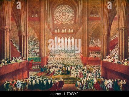 The Coronation of King George IV in Westminster Abbey, London, 1821 (1906).  Artist: Pugin & Stephanoff. - Stock Photo