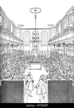 Interior of the House of Commons in 1742 (1905). Artist: Unknown. - Stock Photo