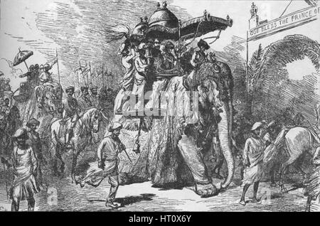 Entry of the Prince of Wales into Baroda, India, on 9 November 1875 (1908). Artist: Unknown. - Stock Photo