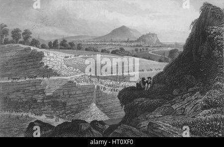 'The Stone Quarries, Craigleith, near Edinburgh: From Which the New Town was Built', 1829. Artist: W Wallis. - Stock Photo