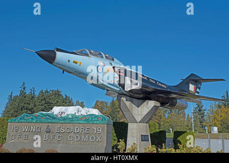McDonnell F-101 Voodoo Skyhawk one, Gate Guard at Comox Air Station Vancouver Island, BC. Canada. - Stock Photo