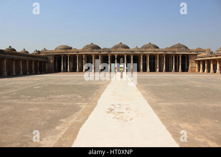 Mosque in the Campus of Sarkhej Roza with pillars and domes, Sarkhej Roza, Ahmedabad, Gujarat India - Stock Photo
