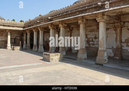 Colonnaded cloister of historic Tomb at Gujarat at Sarkhej Roza mosque in Ahmedabad, India - Stock Photo