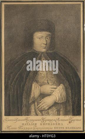 Portrait of the Tsarina Natalia Naryshkina (1651-1694), wife of tsar Alexis I of Russia, 1766. Artist: Kolpakov, - Stock Photo