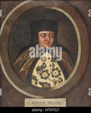 Portrait of the Tsarina Natalia Naryshkina (1651-1694), wife of tsar Alexis I of Russia, End of 17th Artist: Anonymous - Stock Photo