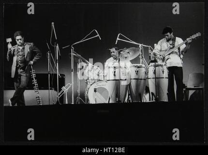 Dizzy Gillespie and guitarist Rodney Jones on stage, Beaulieu, Hampshire, July 1977. Artist: Denis Williams - Stock Photo