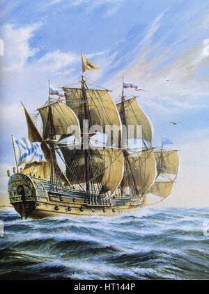 Russian ship of the line Poltava, 1712. Artist: Anonymous - Stock Photo