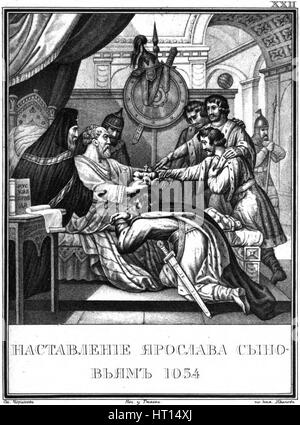 The Testament of Grand prince Yaroslav the Wise. 1054 (From Illustrated Karamzin), 1836. Artist: Chorikov, Boris - Stock Photo