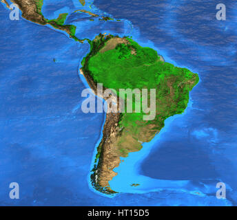 Detailed satellite view of the Earth and its landforms. South America map. Elements of this image furnished by NASA - Stock Photo
