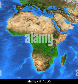 Detailed satellite view of the Earth and its landforms. Africa map. Elements of this image furnished by NASA - Stock Photo